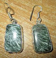 """Прямоугольные серебряные серьги  с натуральным серафинитом """"Квадро"""" ,  от студии LadyStyle.Biz, фото 1"""