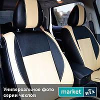 Чехлы для Seat Toledo, Черный + Капучино цвет, Экокожа