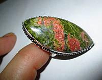 Крупный серебряный перстень  с  эпидотом , размер 19  от студии LadyStyle.Biz, фото 1
