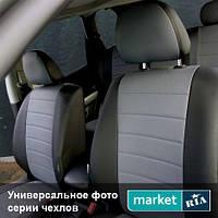 Чехлы для Renault Lodgy, Черный + Серый цвет, Экокожа