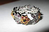 """Цветочный перстень """"Цветы"""" с гранатом и сапфирами, размер 18,8 от студии LadyStyle.Biz, фото 1"""