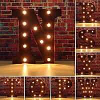 Урожай металла LED свет поделки буква п к х знак карнавальные украшения стены шатра