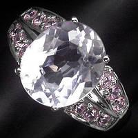 """Элегантное кольцо с кунцитом и розовыми сапфирами """"Леди Диана"""", размер 17,5 от студии LadyStyle.Biz"""