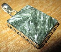"""Квадратный серебряный кулон  с натуральным серафинитом """"Квадро"""" ,  от студии LadyStyle.Biz, фото 1"""