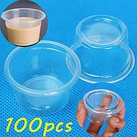 100шт 1oz 30мл чашка с крышкой из прозрачного пластика пудинг желе чашки соуса