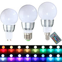 E27 E14 GU10 3W Dimmable дистанционного управления RGB Изменение цвета светодиодные лампы свет лампы 85-265