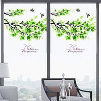 60x58cm Матовый непрозрачного стекла оконная пленка дерево и птица Privacy Glass Стикеры Home Decor