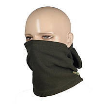 Балаклава универсальная флисовая (шапка, шарф, балаклава) оливковая, фото 2