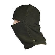 Балаклава универсальная флисовая (шапка, шарф, балаклава) оливковая, фото 3
