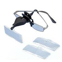 MG19157-2 1.5X 2.5X 3.5X светодиодные очки Низкое зрение клип увеличительного стекла Лупа со светодиодной подсветкой