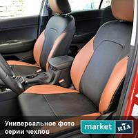 Чехлы для Peugeot Partner, Черный + Коричневый цвет, Экокожа