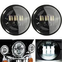 2шт 10-16v 4.5 дюйма 6000k LED пятно тумана прохождения фар черный для Harley мотоцикла