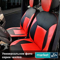 Чехлы для Skoda Octavia, Черный + Красный цвет, Экокожа
