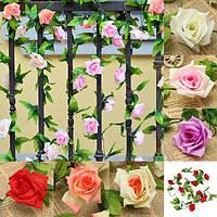 2.4м искусственный пластиковый выросли зеленые листья гирлянды домой украшение сада свадебного банкета цветка