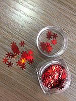 Конфетти для декора ногтей красные