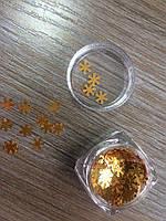 Конфетти для декора ногтей золотистые