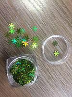 Конфетти для декора ногтей зеленые