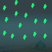 Хонана DX-167 12PCS 7X8CM флуоресцентный свечение Удивительные молнии стикер стены Главная спальня декор