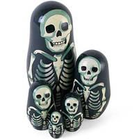 Набор из 5 Крашеных деревянного Верстки Russian Dolls Пингвинов Skeleton