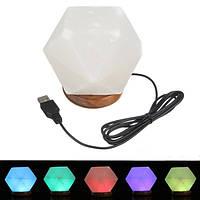 Природный кристалл Rock USB Соляная лампа Красочный светодиодные Night Light Decor