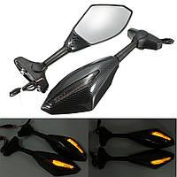 Углерод LED интегрировнные сигнала поворота зеркала для Yamaha FZR YZF R1 R6 Honda/Suzuki