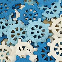 50 шт деревянные мини море руля лома бронирование рукоделие средиземноморские дома украшения белый синий
