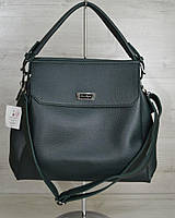 Зеленая молодежная сумка на плечо три отделения фурнитура серебро, фото 1