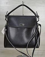 Черная глянцевая молодежная сумка на плечо три отделения фурнитура серебро