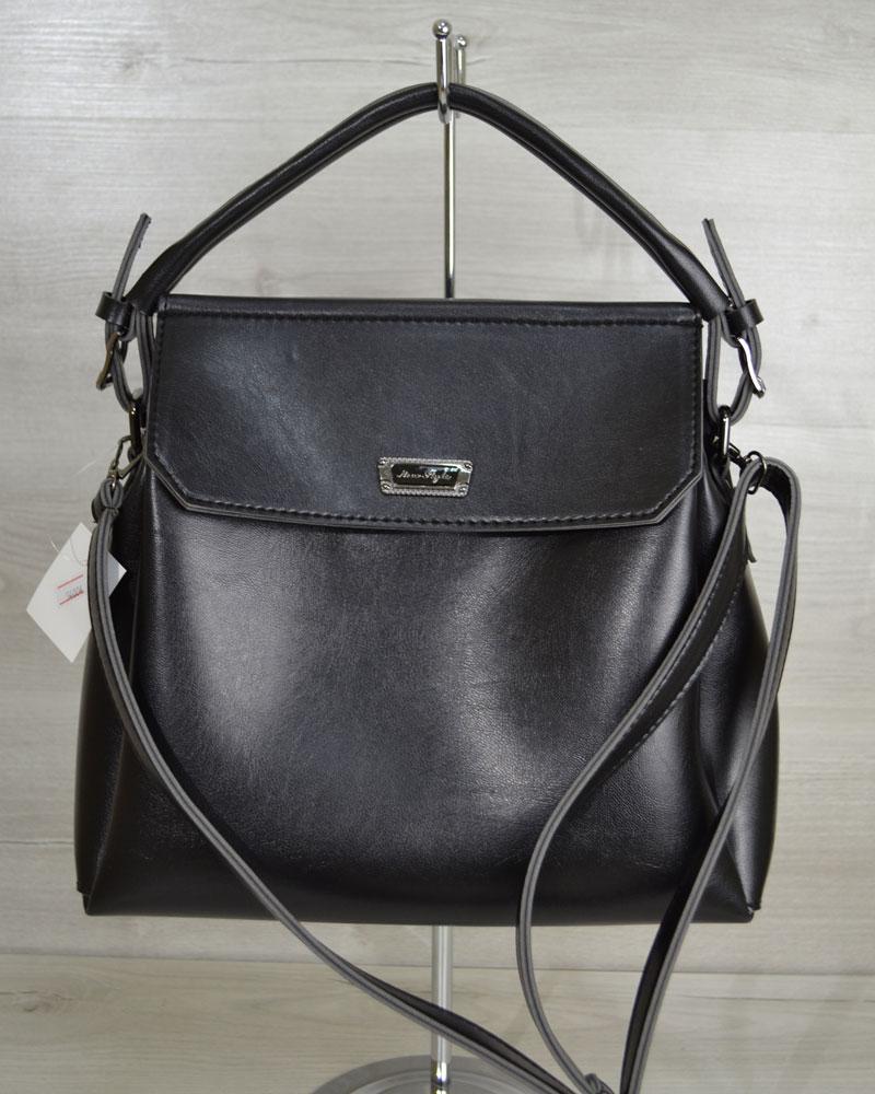 7d8b759ed1c6 Черная глянцевая молодежная сумка на плечо три отделения фурнитура серебро  - Интернет магазин сумок SUMKOFF -