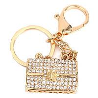 Золото кристаллический форма сумки брелок