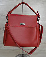 Красная молодежная сумка на плечо три отделения фурнитура серебро, фото 1