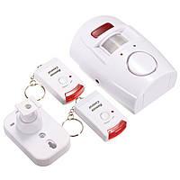 2 в 1 движения беспроводной сигнализации инфракрасный сигнал тревоги безопасности звон домой детектор с дистанционным управлением + держа