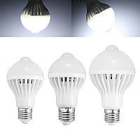 E27 5W 7W 9W Светодиодная лампа с PIR инфракрасного датчика движения Домашнее Освещение A85-265V