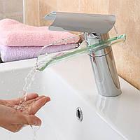 Кран бассейна стекла водопад смеситель для раковины ванной комнаты единственного рычага хромированный