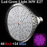 36w E27 66 красный 24 синий сад роста растений LED лампы парниковых завод цветок рассада свет