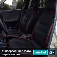 Чехлы для Peugeot 107, Черный цвет, Экокожа
