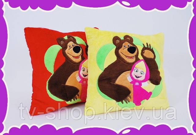 Подушка детская Маша и Миша,34х34 см
