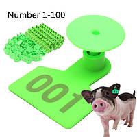 Зеленый Пластиковые 1-100 Количество животных Животноводство Ухо метки для Козы Овцы Свинья