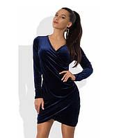 Мини платье с имитацией запаха синее