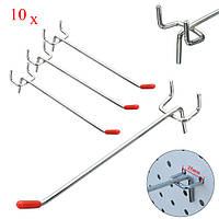 10 штук нержавеющей стали дисплей настенные крючки для пальто магазин Slatwall панели 10 × 150 мм