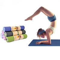 Коврик на открытом воздухе фитнес спорта противоскольжения площадку без запаха бодибилдингу Yoga TPE биколор 6мм Yoga мат