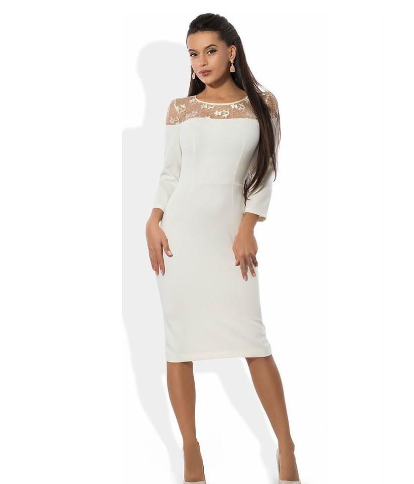 Белое платье футляр с оригинальным верхом