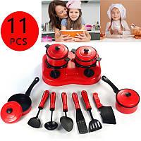11 штук Дети Притворная роль Палий Кухонная утварь Аксессуары Кулинария Игрушка Кухонная посуда