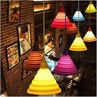 Складной абажур красочные силиконовые E27 Патрон лампы подвесные светильники поделки потолочный светильник домашнего декора