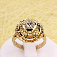 R1-2761 - Позолоченное кольцо прозрачный фианит, 18, 19 р