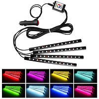 4шт 10w автомобиля атмосфера светорегулирующая приложение многоцветной интерьера LED полосы света декоративные лампы