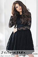 Гипюровое платье с пышной юбкой черное