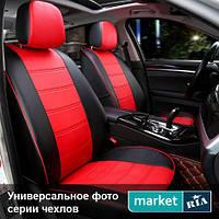Чехлы для Ford Transit, Черный + Красный цвет, Экокожа