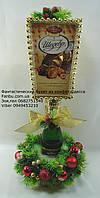 """Конфетный подарок из конфет """"Новогодний фонарь с шампанским"""""""