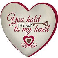 Декоративная стильная подушка-сердце Ключ к сердцу